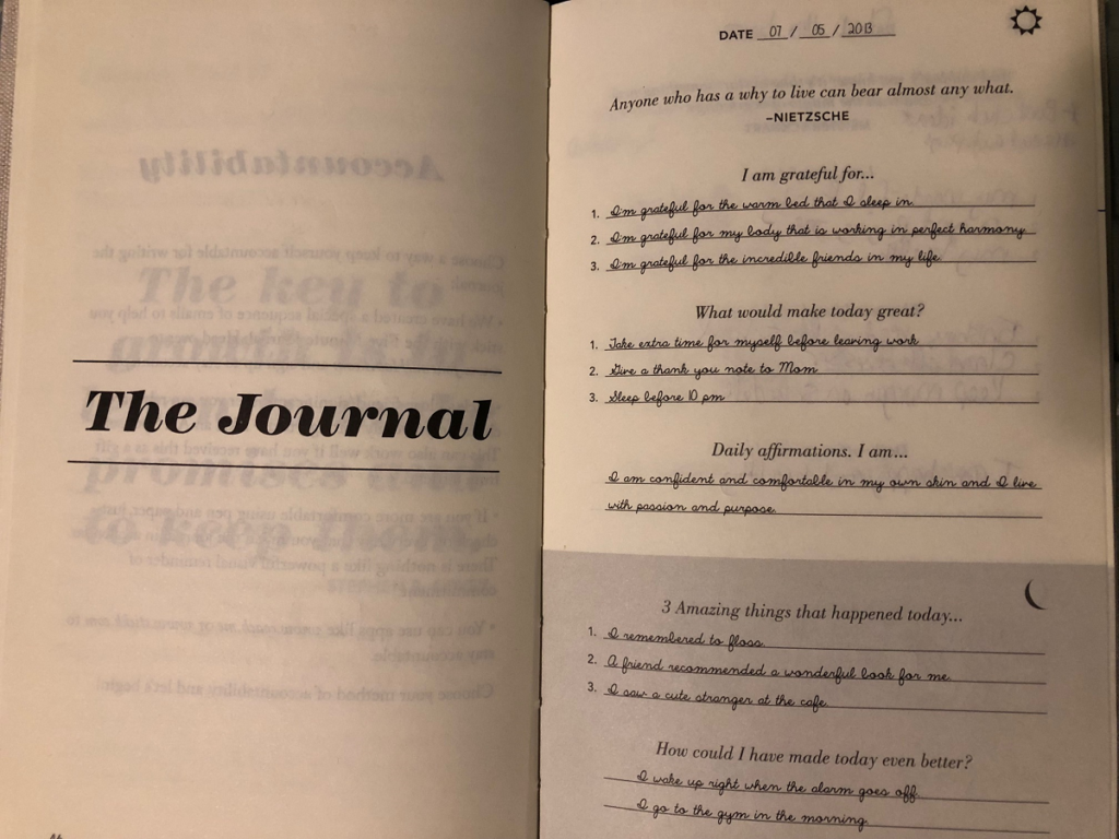 five-minute journal suggested entries